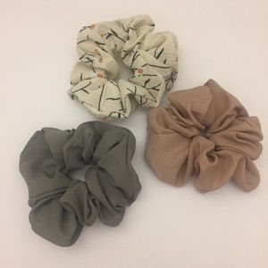 NWOT. Chiffon Solid/Floral Hair Scrunchies.